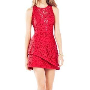 "Bcbg MaxAzria ""Hannah""  tiered red lace dress sz2"